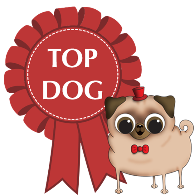 Cartoon-dog-with-top-dog-rosette