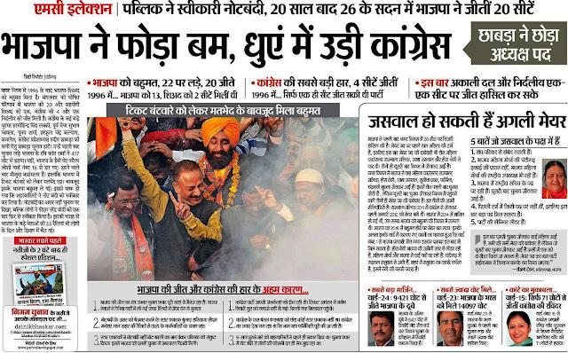 एमसी इलेक्शन | पब्लिक ने स्वीकारी नोटबंदी, 20 साल बाद 26 के सदन में भाजपा ने जीतीं 20 सीटें