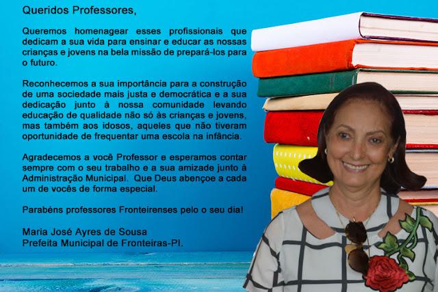 PREFEITA MARIA JOSÉ EMITE NOTA PARABENIZANDO TODOS OS PROFESSORES