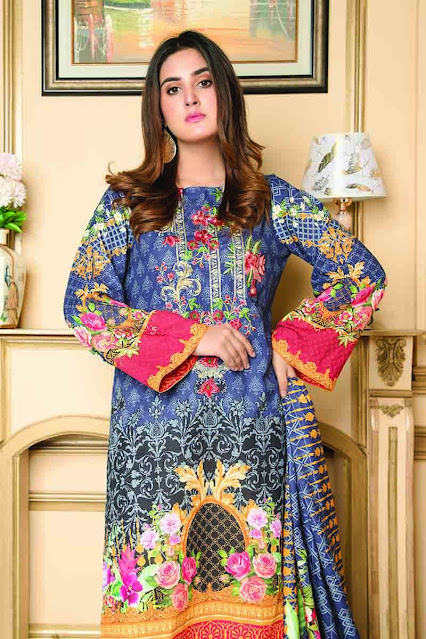 Gul ahmed winter usntitched blue colour khaddar printed suit