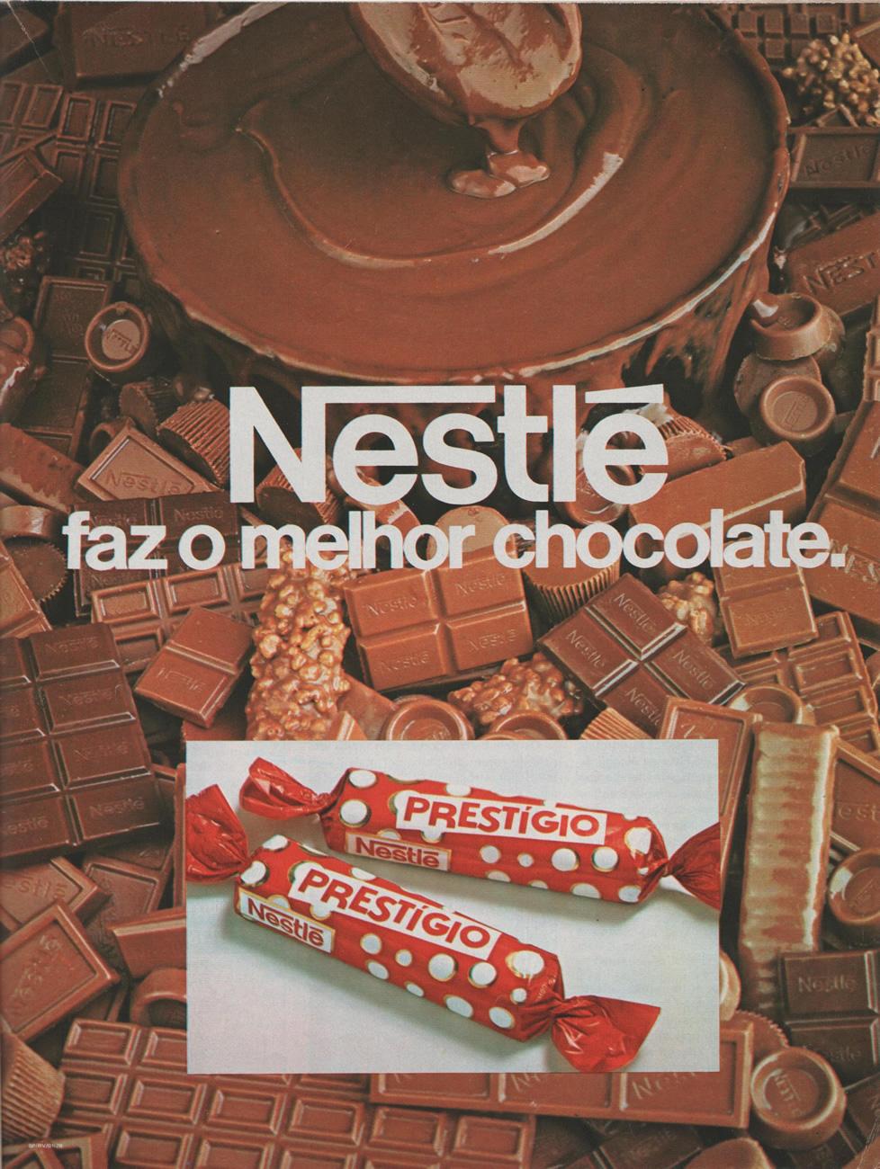 Propaganda da Nestlé promovendo sua linha de chocolates no final dos anos 70