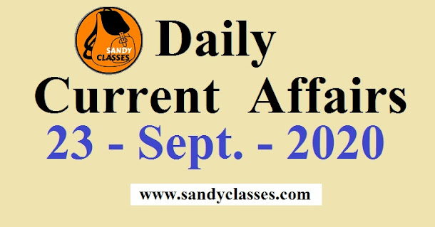 Daily Current Affairs in Hindi / English - 23 September 2020
