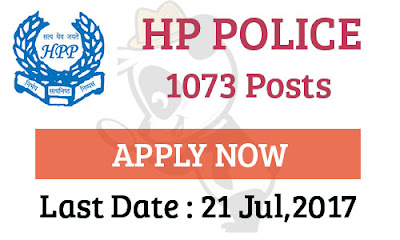 1073 Post Recruitment HP Police-Last Date 21 July,2017