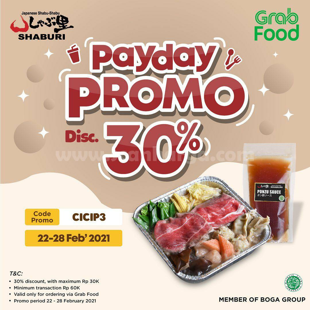 SHABURI Promo PAYDAY – Spesial DISKON 30% via GRABFOOD