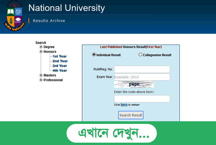 NU Honours 1st Year Result 2020