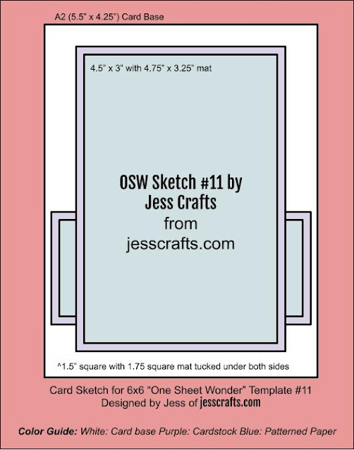 Card Sketch for One Sheet Wonder Template #11 by Jess Crafts