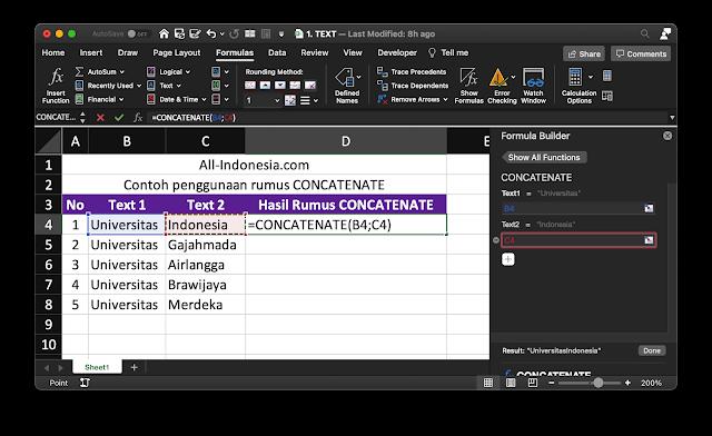 Rumus CONCATENATE di Excel