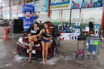 Female Buriram Hand Soapy Car Wash Rub to finish job