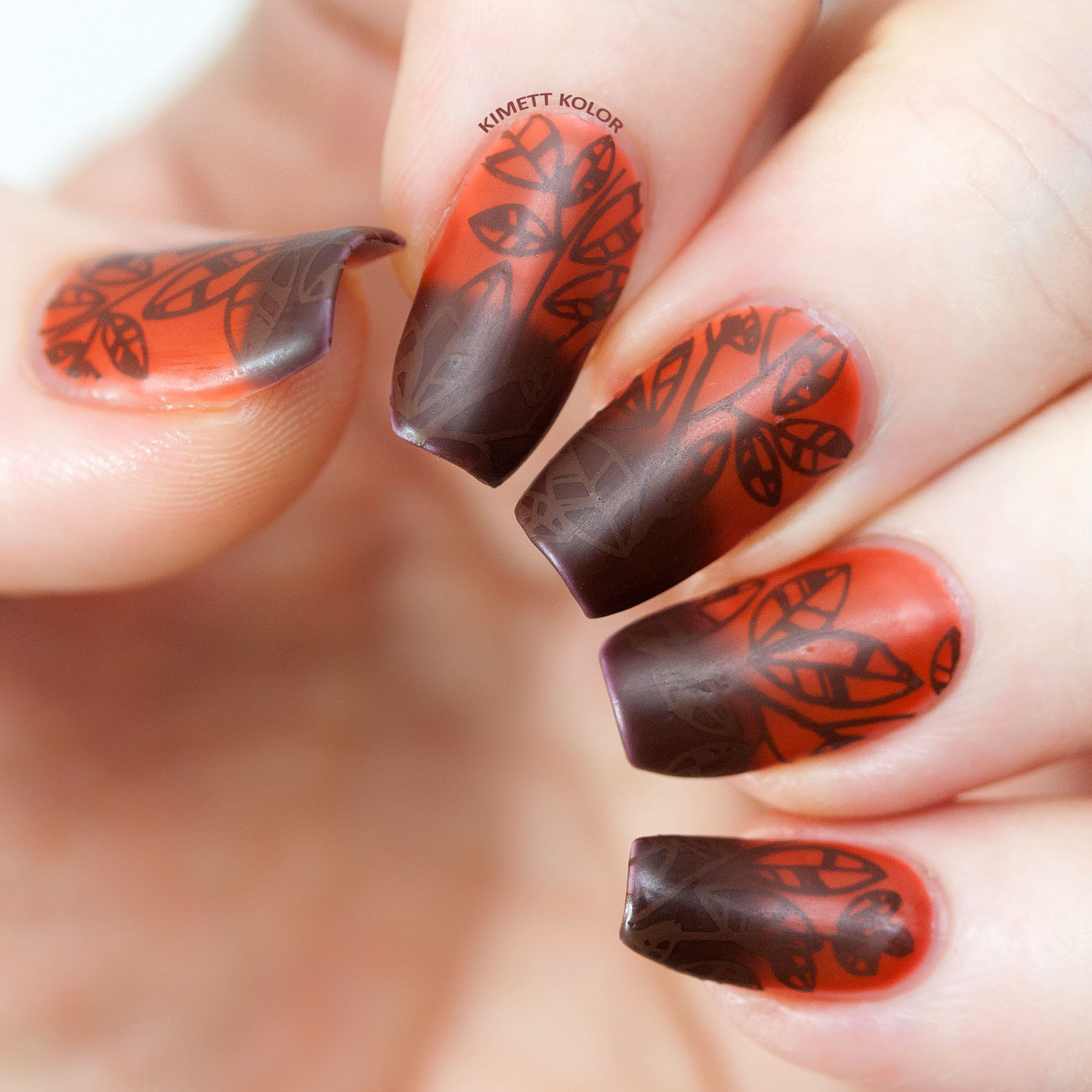Chocolate Tree Inspired Stamping Nail Art by Kimett Kolor