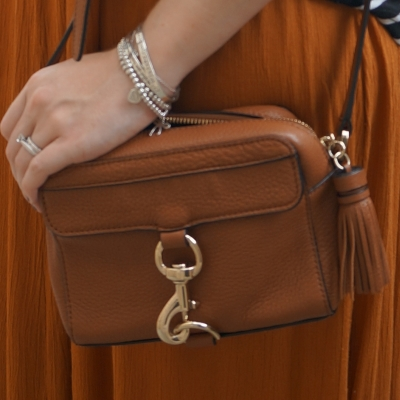 Rebecca Minkoff MAB Camera Bag in almond with ochre tree of life maxi skirt | awayfromtheblue