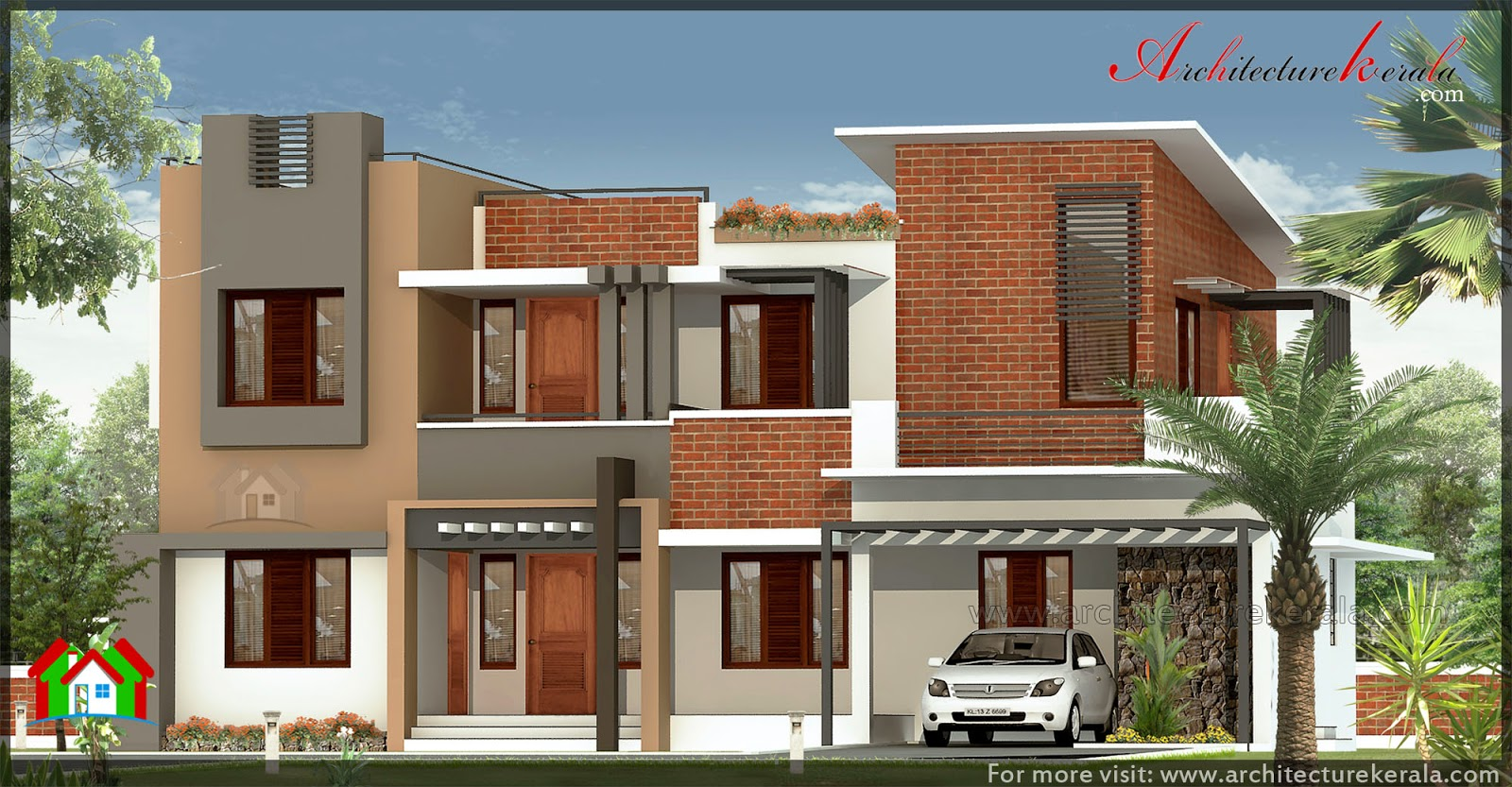 Modern sloping roof mix villa exterior l