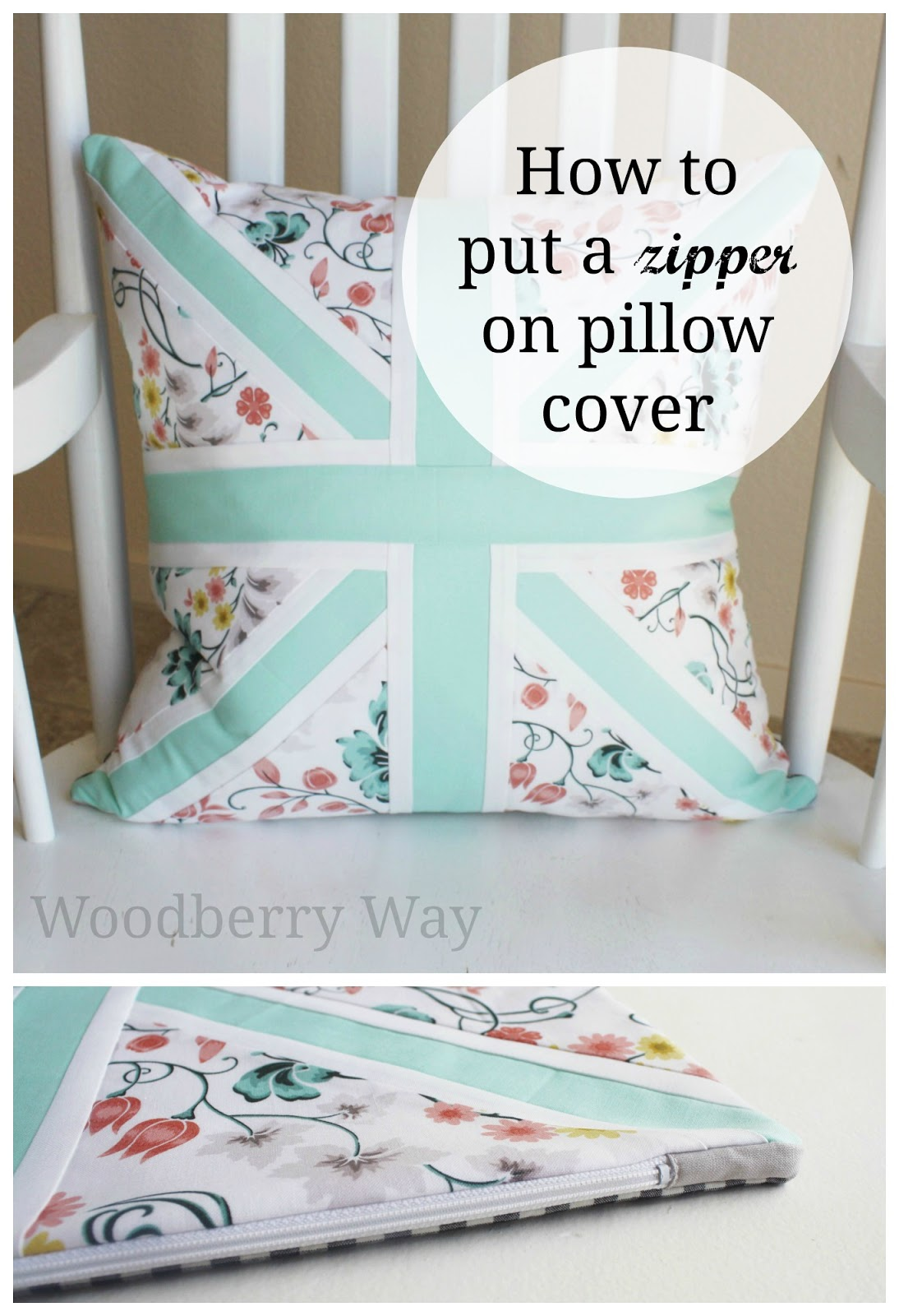 woodberry way pillow with a zipper tutorial