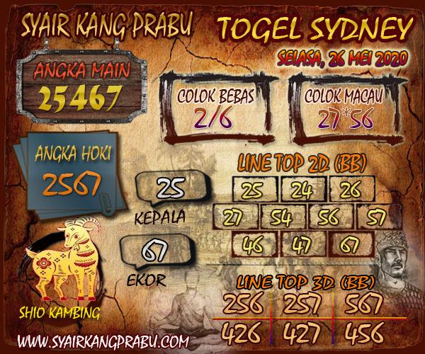 Prediksi Syair Sydney Selasa 26 Mei 2020 - Syair Kang Prabu