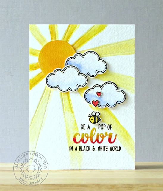Sunny Studio Stamps: Color Me Happy & Sun Ray Be A Pop of Color Card by Emily Leiphart.