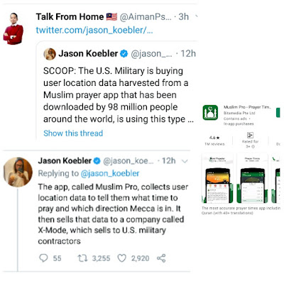Muslim Pro Jual Data Peribadi 98 Juta Pengguna Islam Kepada Tentera Amerika Syarikat