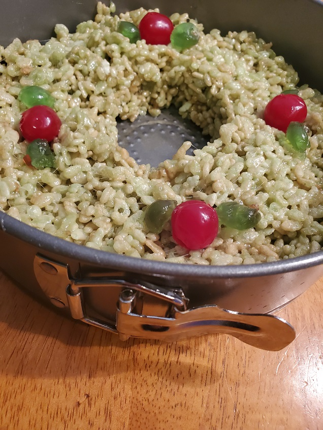 this is a springform pan with rice krispies treats shaped into a wreath