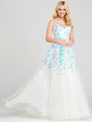 Ellie Wilde Ball gown ivory color Prom dress