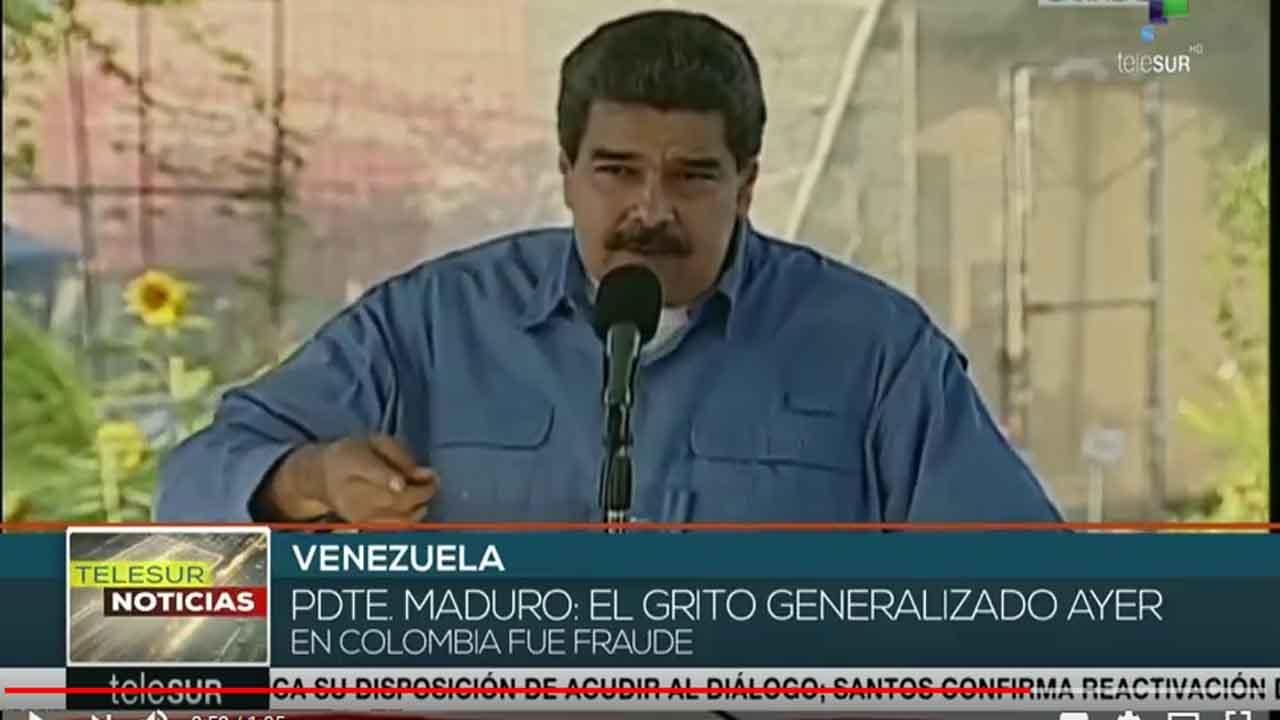 Maduro: el grito generalizado en Colombia fue fraude