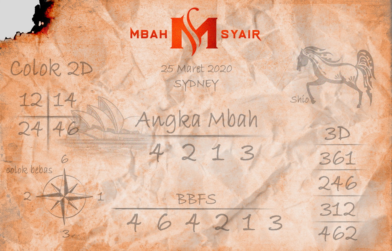 Prediksi Sidney Terjitu Rabu 25 Maret 2020 - Mbah Syair Sydney