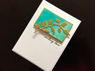 Hand made birthday card with Distress Oxide background and die cut holly branch