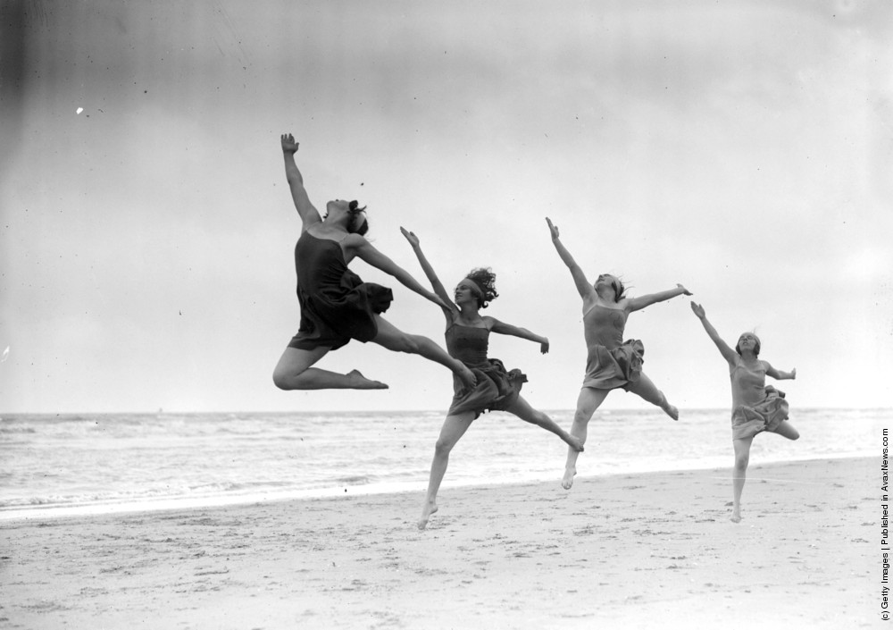 Margaret morris dancers exercising on the sands at saint idesbald august 1929 photo by fox photos getty images