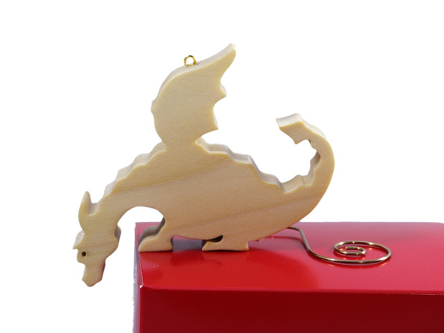 Handmade Wood Toy Dragon Christmas Ornament