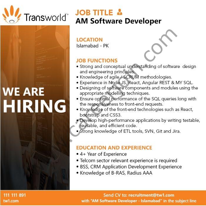 Transworld Associates Jobs 2021 in Pakistan