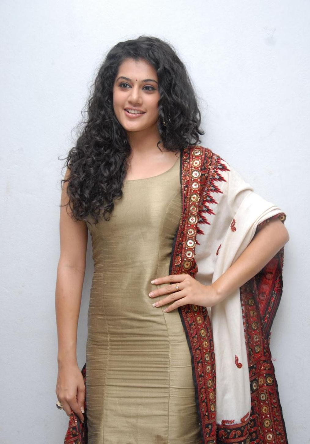 Tapsee Smiling Stills In Beautiful Churidar