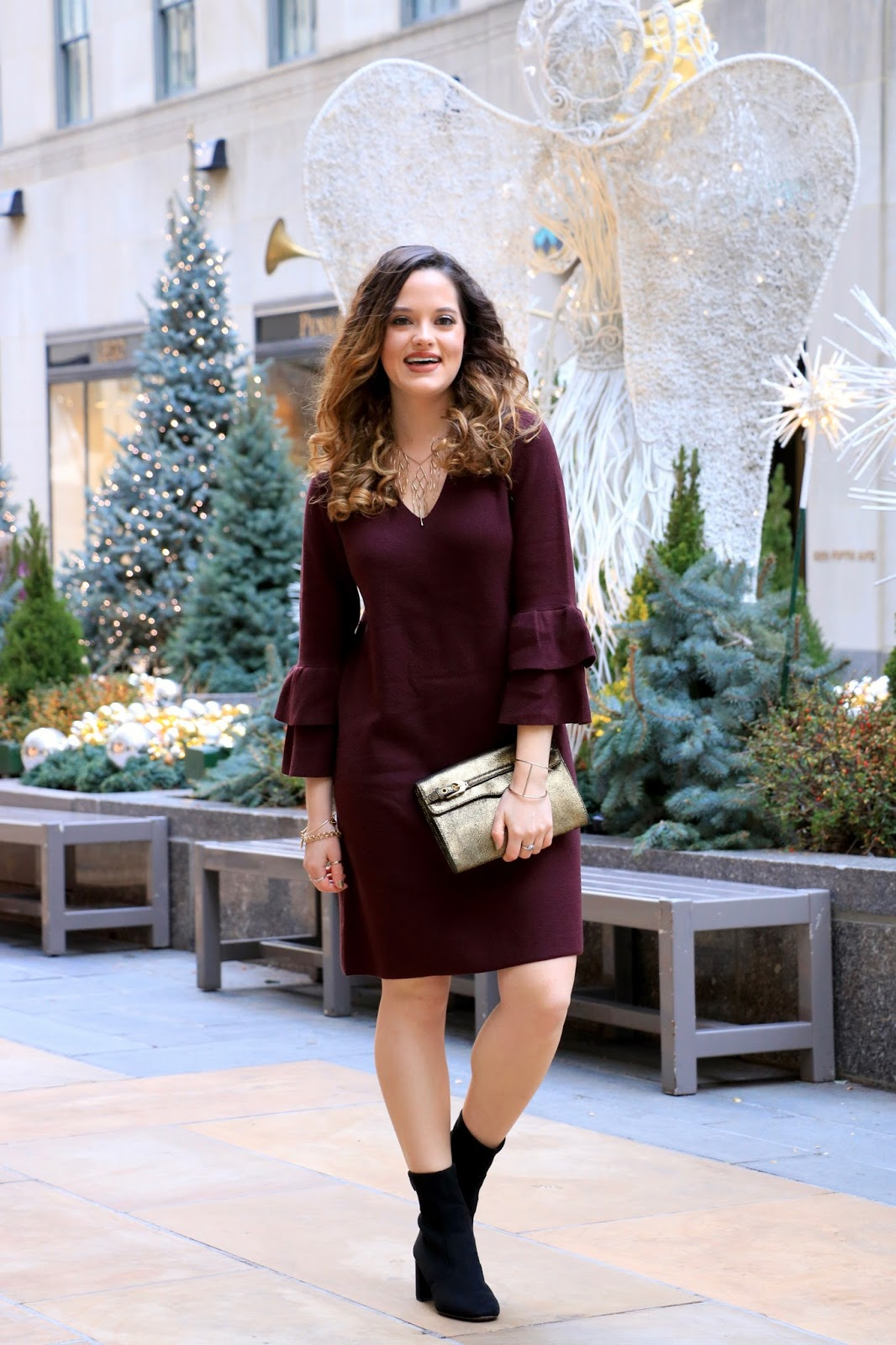 Nyc fashion blogger Kathleen Harper in holiday dress
