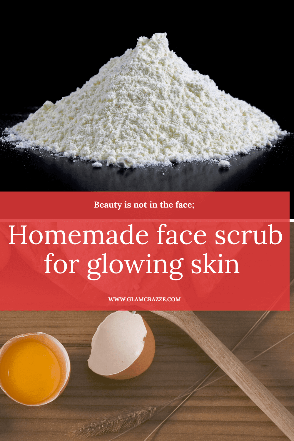 Homemade face scrub for glowing skin using rice flour