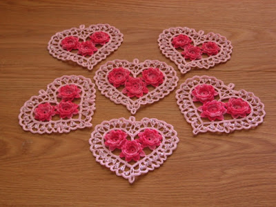 Custom Order of 6 Irish Crochet Hearts by RSS Designs In Fiber
