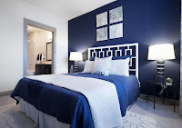 Blue color wall idea for bedroom decoration