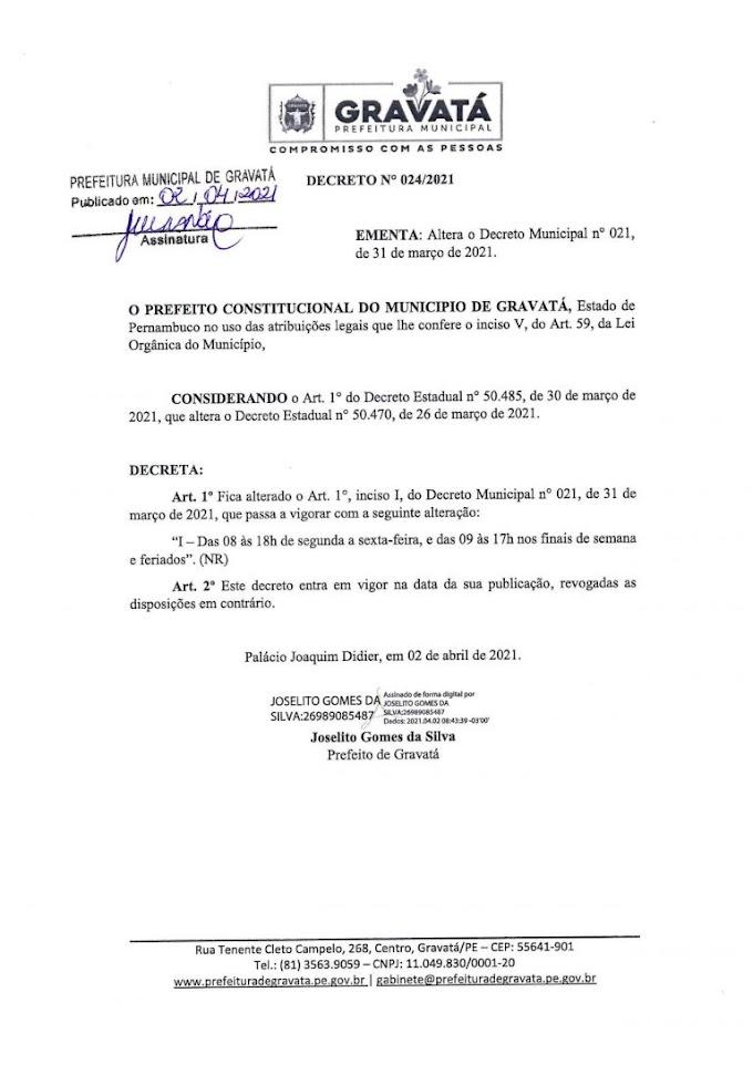 Prefeitura de Gravatá:  novo Decreto nº 024/2021 que altera o horário de funcionamento.
