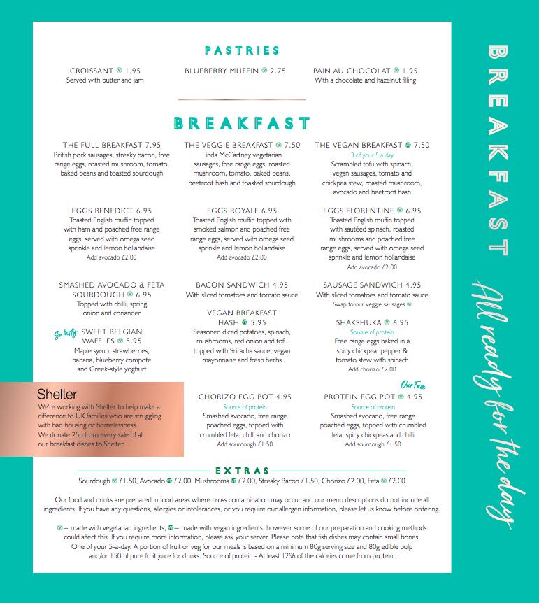 All Bar One Newcastle Brunch Review - breakfast menu