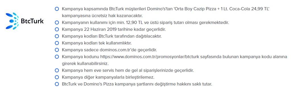 dominos pizza btcturk  kampanya ve promosyonları indirm fırsatları
