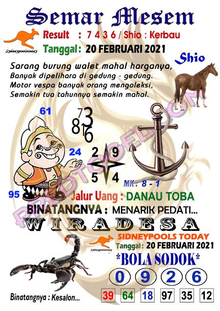 Syair Semar Mesem Sdy Sabtu 20 Februari 2021