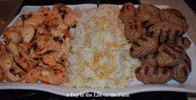 Shish Tawook, Beef Kafta and Lebanese Rice.