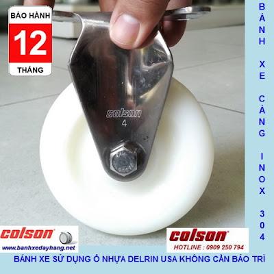 Bánh xe PA phi 100 không xoay càng inox 304 Colson Mỹ | 2-4408-254 www.banhxeday.xyz