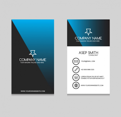 Contoh Kartu Nama - Blue Black Business Card Design