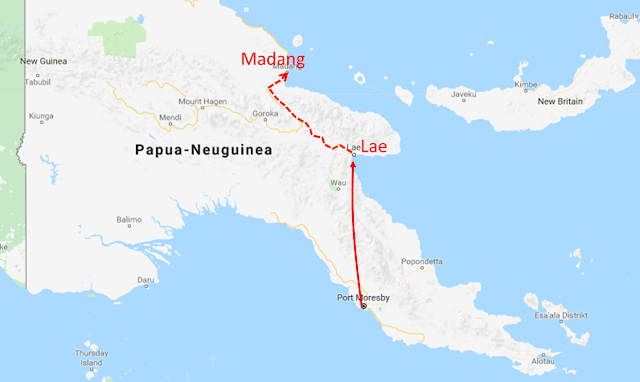 Map Port Moresby to Madang