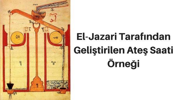 El-Jazari tarafından geliştirilen mum saati örneği
