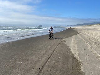 Riding bikes on the beach in Pacific City Oregon.