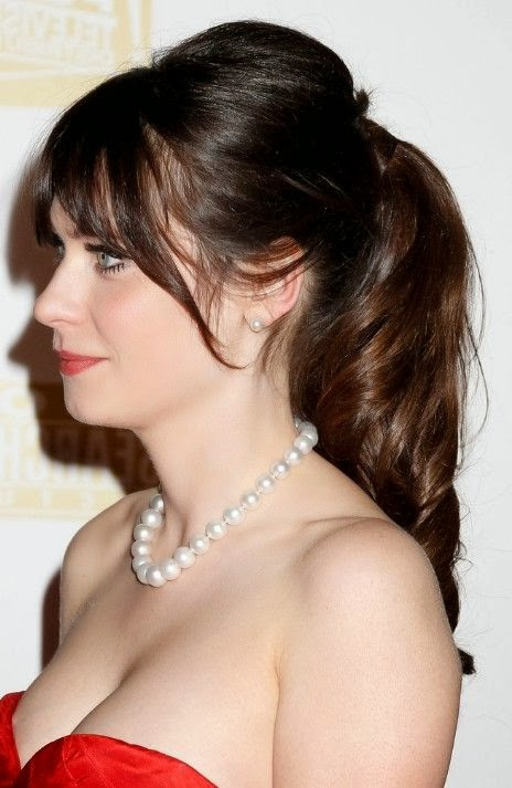Casual loose ponytail for female Zooey Deschanel hairstyle