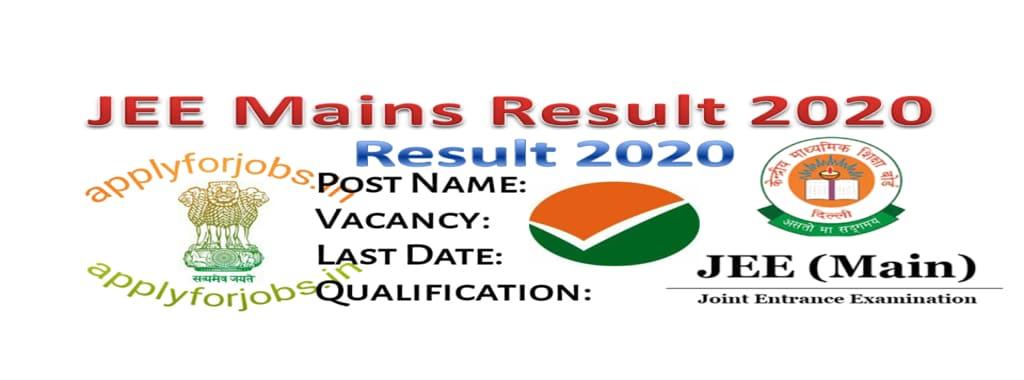 NTA JEE Main Result 2020 Released