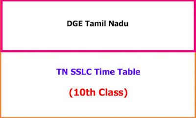 TN SSLC Exam Time Table
