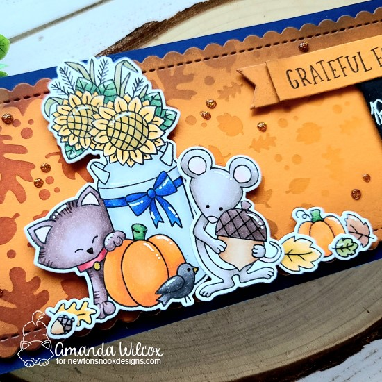 Autumn Slimline Card by Amanda Wilcox | Paw-tumn Newton and Autumn Mice Stamp Sets and Falling Leaves Stencil by Newton's Nook Designs #newtonsnook