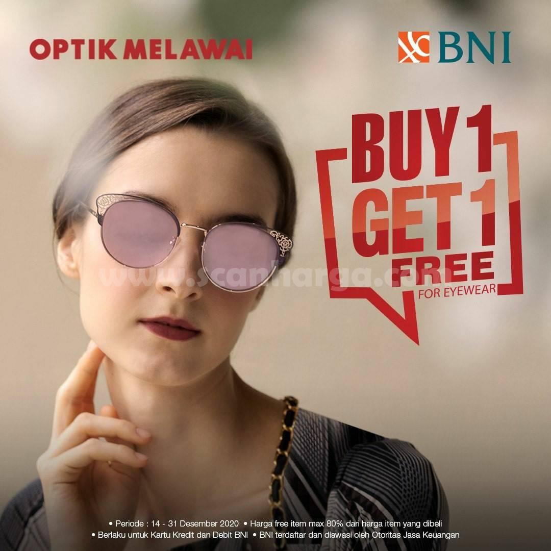 Promo OPTIK MELAWAI Buy 1 Get 1 – menggunakan Kartu Kredit & Debit BNI