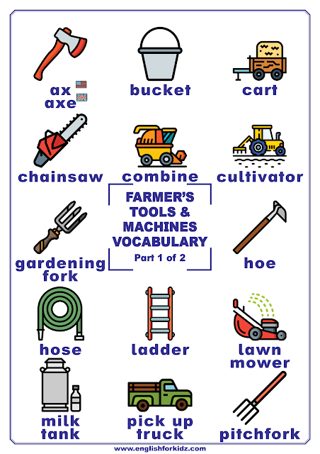 Farming tools vocabulary - printable poster for English learners