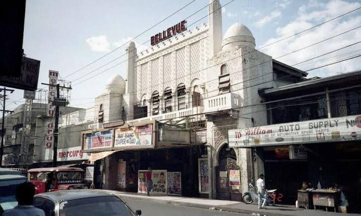 Bellevue Theater. Its architectural features are a mix of Art Deco and Mudejar Styles. The theater was built in 1931 and fortunately survives today. This photograph was taken in 1992 — in Paco, Manila.