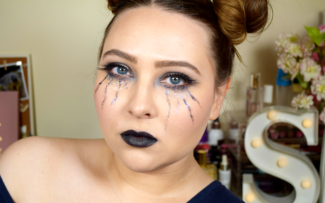 Goth Glitter Tears Halloween Makeup Tutorial